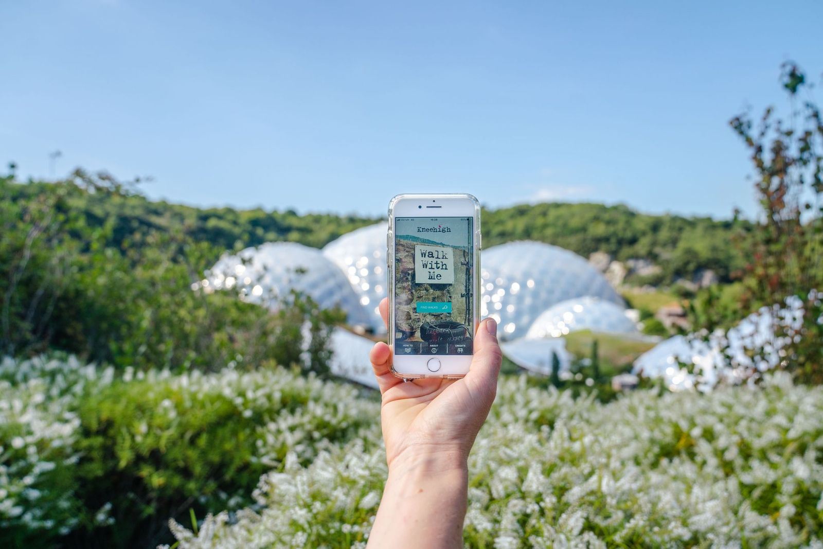 Hand holding a smart phone in front of Eden's domes