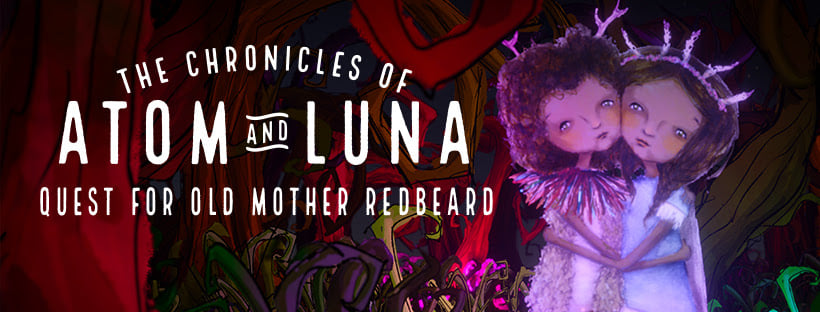Twins Atom & Luna are hugging each other, looking at the camera. The text reads: The Chronicles of Atom & Luna Quest for Old Mother Redbeard