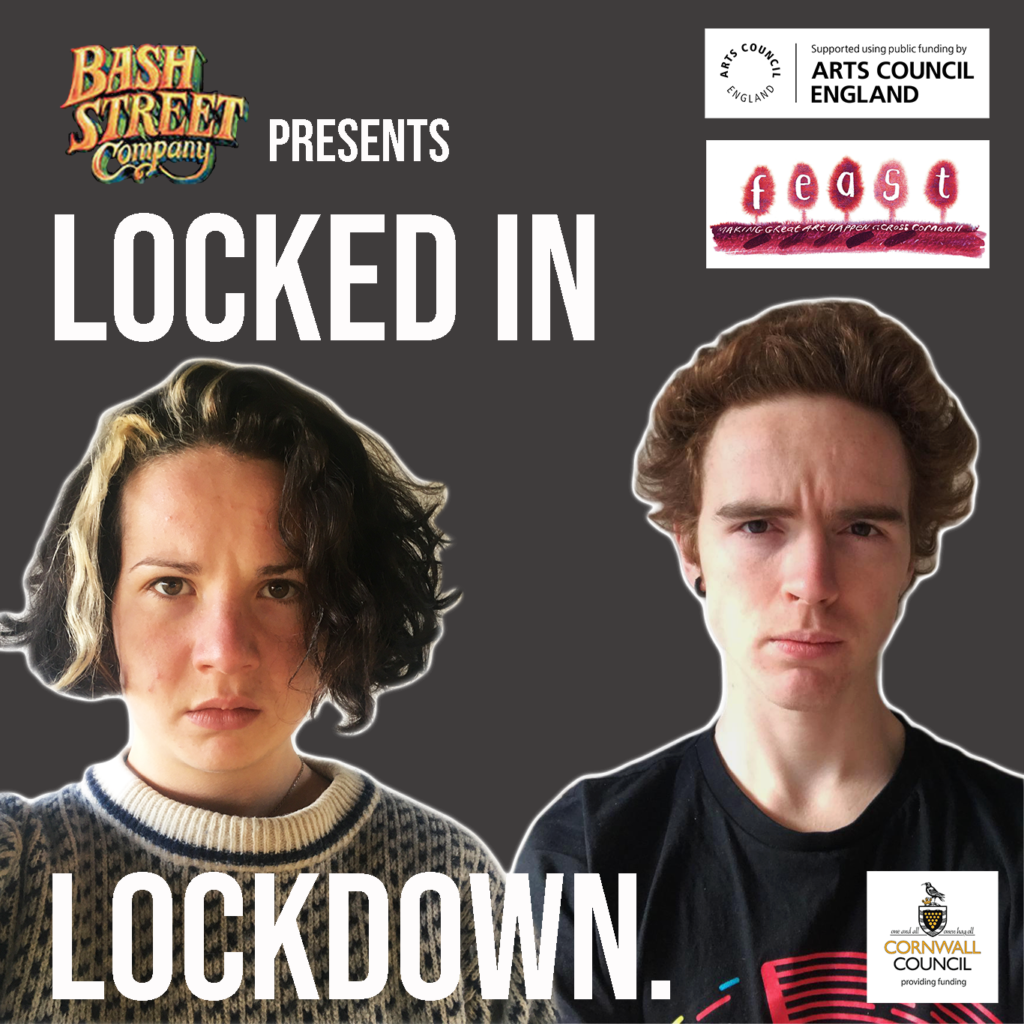 A man and a woman stand next too each other staring straight ahead at the camera. The text reads: Bas Street presents Lockded In Lockdown